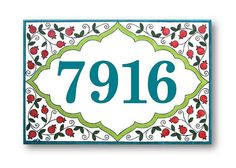 Address Numbers House Number Hand painted Tiles by AyeBarDesigns