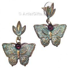 Brass Butterfly Earrings with Verdigris Patina and Amethyst Butterfly Gifts, Butterfly Earrings, Jewelry Gifts, Jewelry Box, Patina Style, Brass Jewelry, Stainless Steel Jewelry, Earring Backs, Beautiful Butterflies