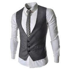 Men Beckham's Style Dress Vest for Suit or Tuxedo Top 3 Buttons  - US$16.55 - Banggood Mobile