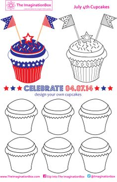 Design your own delicious July 4th cupcakes, let your imagination go wild with stars, stripes and sprinkles!