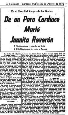 Murió Juanita Reverónd e un paro cardíaco. Publicado el 22 de agosto de 1972.