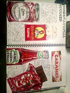 A level art / gcse art food project sketchbook layout Joel penkman packaging and mass consumerism A* 100% coursework