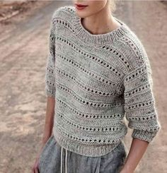 Knitting Patterns Pullover gray sun ه sweater sweater knit knit gray wool wool Sweater Knitting Patterns, Knitting Designs, Knitting Stitches, Knit Patterns, Clothing Patterns, Summer Knitting, Knit Fashion, Crochet Clothes, Knitwear