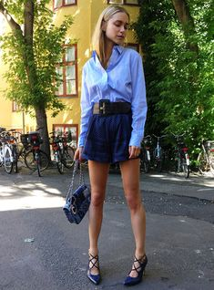 blue-shirt-shorts-lace-up-heels-street-style