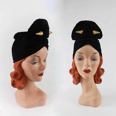 377aa303b9b 1940 s Bold Black Rayon Jersey  amp  Chenille Crochet Knit Turban Hat with  Double Sided Golden