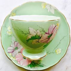 Elegant pale mint green Foley E.Brain and Co 'Begonia' antique tea cup and saucer in nice antique condition. Set has no chips or cracks but does have some age related crazing and fading to the colour. ~~~~~~~~~~~~~~~~~~~~~~~~~~~~~~~~~~~~~~~~~~~~~~~~~ ~Complimentary antique sugar