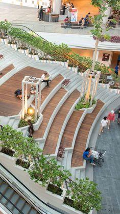 Mega Food Walk At Mega Bangna Landscape Collaboration Landscape Stairs, Landscape Architecture Drawing, Stairs Architecture, Green Architecture, Concept Architecture, Futuristic Architecture, Sustainable Architecture, Landscape Plaza, Classical Architecture