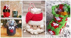 Crochet Christmas Mason Jar Cozy Free Patterns and Paid: Christmas Bootie Can Cover, Elf Jar, Santa Jar, Candle Jar, Gift Sack,