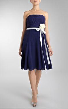 Royal Blue Decent Sheath Knee-length Strapless Dress