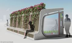 Menthol Architects urban furniture city furniture plant covered bus stop bike and bus plant-covered bicycle parking pod modular city furniture bike parking bike pod bike rack Villa Architecture, Green Architecture, City Furniture, Urban Furniture, Street Furniture, Barbie Furniture, Furniture Legs, Garden Furniture, Furniture Design