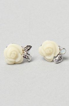 Karmaloop.com - Global Concrete Culture - The Rose Post Earrings in White by Disney Couture Jewelry
