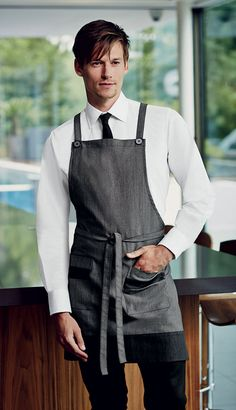 This Denim Bib Apron with Pockets has combined modern fabrics with functionality ♥ #Denim #Aprons #Hospitality