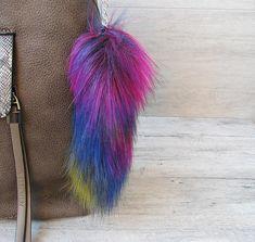 Multicolor Fur #Keychain Vegan faux fur pom pom Colorful