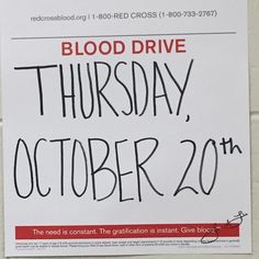 NHS will be hosting the first Blood Drive of the year. You must be 16 or older to donate. 16 year olds must have parent consent prior to Oct. 20. If you are 17 years & meet the weight & height requirements & are in good health you may be eligible to donate blood.
