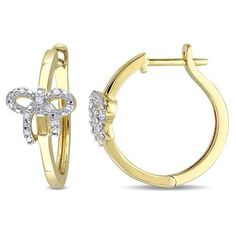 Zales 1/10 CT. T.w. Diamond Heart on Hoop Earrings in Sterling Silver with Yellow Rhodium vrPuu7RHD
