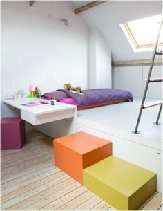 The boo and the boy: eclectic kids' rooms | cool attic bed room