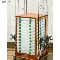 Rolling Fishing Rack 16 Rods Rod Reel Pole Utility Box Storage Rack Holder Fly