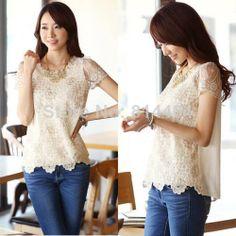 Hot Korea Style Summer Women Chiffon Shirt Lace Tops Beading Embroidery O-Neck Tops Blouse Shirt M, L, XL, XXL US $6.99