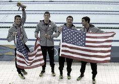 Michael Phelps, Conor Dwyer, Ryan Lochte, and Ricky Berens