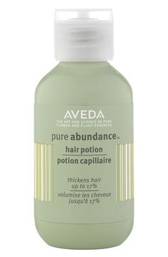 Free shipping and returns on Aveda 'pure abundance™' Hair Potion at Nordstrom.com. Aveda's innovative formula transforms in your hands - from a powder to a light, absorbent lotion - then makes magic in your hair, increasing its diameter and creating an abundance of texture and volume.<br><br>Features and benefits:<br>- Instantly thickens hair by 17%.<br>- Relies on natural bulking agents, acacia gum and kaolin clay.<br>- Creates matte texture.<br>- Great for creating a gritty, second-day ...
