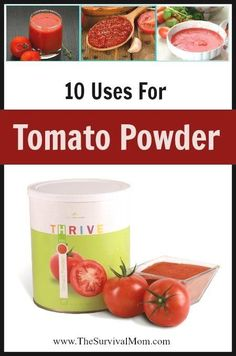 10 Uses For Tomato Powder - Survival Mom Tomato Powder has many benefits: It is healthy, easy to use, inexpensive and versatile. Here are 10 ways you can use this great food storage product. Emergency Food, Survival Food, Emergency Preparedness, Survival Tips, Camping Survival, Prepper Food, Emergency Planning, Wilderness Survival, Canning Recipes