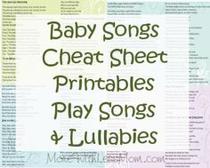Baby Songs Cheat Sheet Printables Play Songs and Lullabies from The More With Less Mom