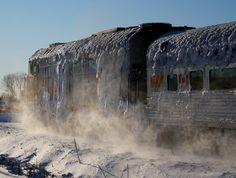 VIA Rail #6407 through an ice storm