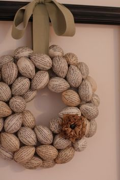 Book page Easter egg wreath