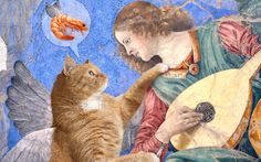 Melozzo da Forli Angel playing lute to his cat by Fat Cat Art Art And Illustration, Fat Cats, Cats And Kittens, Angel Art, Medieval Art, Funny Art, Crazy Cats, Cool Cats, Cat Art