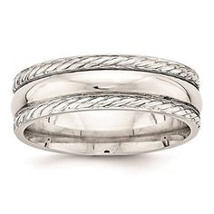 925 Sterling Silver 6mm Polished Fancy Rope Wedding Ring Band Band Size 9 -- For more information, visit