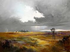 Wilhelm Ploner (SA born Oil, Stormy Landscape with Windmill Seascape Paintings, Landscape Paintings, Watercolor Paintings, Watercolours, Landscapes, South African Artists, Country Landscaping, Garden Ornaments, Close Image
