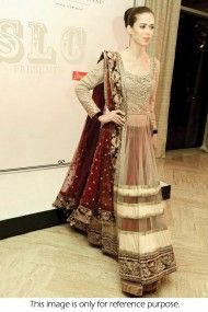 Bollywood Style Model Net and Velvet Lehenga In Red and Beige Colour NC363