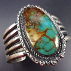 Heavy Vintage NAVAJO Sterling Silver & ROYSTON TURQUOISE Cuff BRACELET, 146g #Cuff