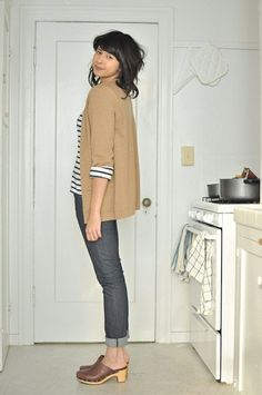 Swedish clogs, rolled up jeans and stripes!!!