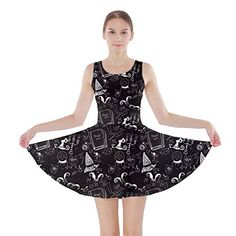 Womens Black Chalkboard Witch Theme Skater Dress