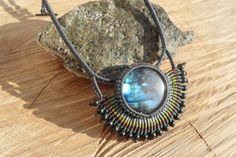 handmade macrame stone necklace with labradorite cabochon