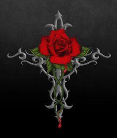 Art by Gothic Rose Celtic Cross Tattoos, Cross Tattoos For Women, Cross Wallpaper, Flower Wallpaper, Yakuza Tattoo, Cross With Wings Tattoo, Cross Coloring Page, Skull Rose Tattoos, Single Rose Tattoos