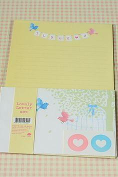 kawaii I LOVE U colorful korean cartoon Love Birds stationery letter writing set | eBay