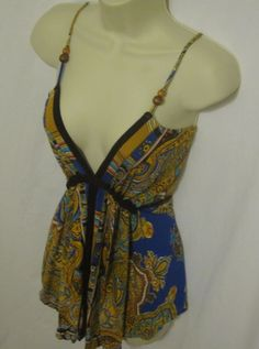 Forever 21 XXI Spaghetti Strap Shirt Top Small Bohemian Beads Blue Yellow Tank  #FOREVER21 #KnitTop #Casual