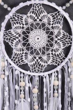 White Dreamcatcher Boho Dream Catcher Large white crochet