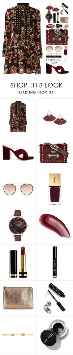 """Statement Bag"" by lilymadelyn ❤ liked on Polyvore featuring Raye, Prada, Ray-Ban, Yves Saint Laurent, Olivia Burton, Gucci, Smashbox, Ivanka Trump, Bobbi Brown Cosmetics and By Terry"
