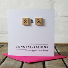 Personalised Scrabble Couple Love Card by Jodie Gaul, the perfect gift for Explore more unique gifts in our curated marketplace. Scrabble Tile Crafts, Scrabble Letters, Wedding Cards Handmade, Handmade Cards, Diy Engagement Cards, Love Cards, Love Messages, Creative Cards, Birthday Cards