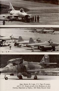 Aviones de la Fuerza Aérea Hondureña hacia 1990. De arriba a abajo, Dassault Super Mystère, Northrop F-5, CASA Aviojet. Honduras: A Country Study (1993) Tim Merrill Library of Congress. Federal Res…