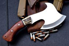 CFK IPAK Custom Handmade D2 Red Stag Exotic-Padauk-Wood Hatchet Ax Knife Blade V | eBay