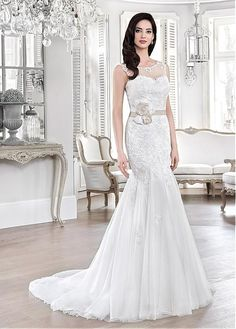 2cb8728c0 Buy discount Fabulous Tulle Scoop Neckline Mermaid Wedding Dresses With  Lace Appliques  amp  Belt at