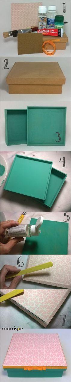 Passo-a-passo caixinha em mdf com papel scrap #artesanato #decor #decoração #diy…