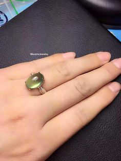 Prehnite Engagement Ring by MissIrisJewelry on Etsy