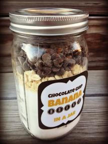 25 DIY Gifts They Will Love: DIY Chocolate Chip Banana Bread Jar