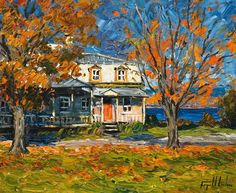 Houses in Art - Raynald Leclerc: realtormarina — LiveJournal Canadian Painters, Canadian Artists, Building Art, Autumn Art, Magazine Art, Tag Art, Art Techniques, Figurative Art, Art Oil