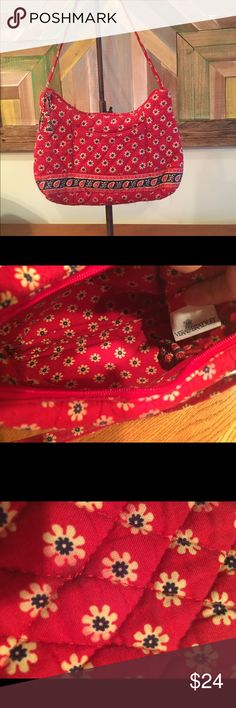 Retired Vera Bradley Purse American Red Small clean Vera Bradley bag. 10 x 6.5. Small dark spot on back that is not noticeable, blends in as you can see in pic. Very cute! Would be great for young girls or women. Vera Bradley Bags Mini Bags